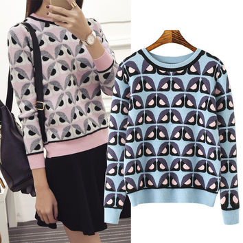 Winter Korean Pattern Slim Round-neck Long Sleeve Pullover Sweater [6332336708]