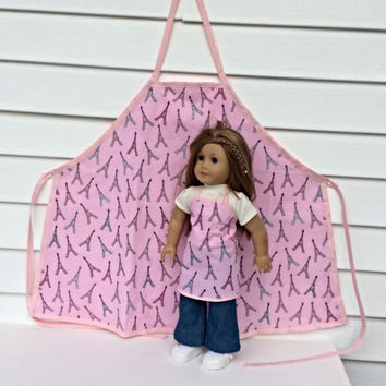 Matching Girl and Doll Aprons, Pink Eiffel Tower Aprons for 18 Inch Doll and Girl, Sized for American Girl Dolls