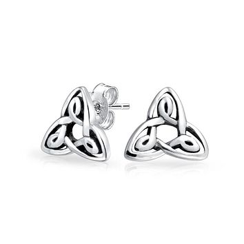 Triquetra Celtic Trinity Knot Stud Earrings 925 Sterling Silver