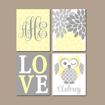 YELLOW GRAY Owl Nursery Wall Art, Baby Girl Artwork, Girl Bedroom Pictures, Love Flower Burst CANVAS or Prints, Set of 4, Above Crib Decor