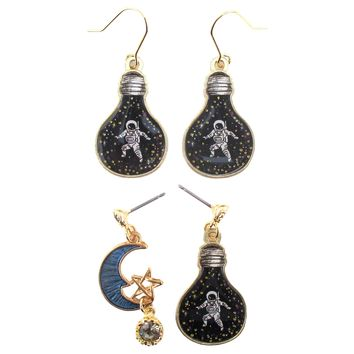 Astronaut Cosmonaut in A Light Bulb Crescent Moon Space Themed Dangle Drop Stud Earrings
