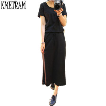 Women Summer Dress Black Casual Shift Dresses Womens Plain Grey O-Neck Short Sleeve Rolled-cuff Pockets Split Maxi Dress G210