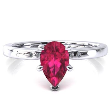 Maise Pear Ruby 6 Prong Diamond Accent Engagement Ring