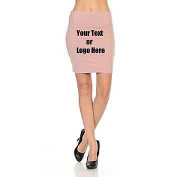 Custom Personalized Designed Women's Solid High Waist Stretch Cotton Span Mini Skirt