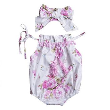 Newborn Baby Girl Tassel Jumpsuit Romper + Headband Outfits Baby Sun suit Clothing