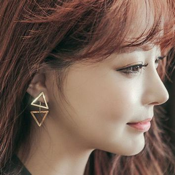 ONETOW Korean Hollow Out Silver Simple Design Shiny Stylish Earrings [8740041351]