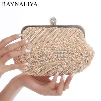 2017 Pink Pearl Evening Bag Beaded Clutch Purse Bag Wedding Bridal Clutches Party Wallet Chains Handbag Black Gold SMYXST-E0006