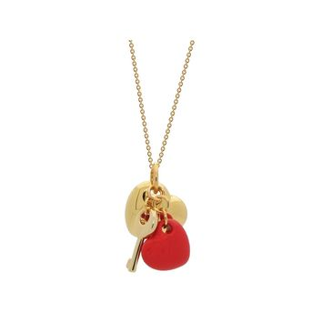 18k Gold Plated  Orange- Red Enamel Puffy Heart Necklace, 15 Inches