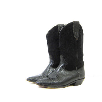 Black Leather Cowgirl Boots 80s Suede Boots Mid Calf Cowboy Boots Pointy Toes Boho Stacked Heels Boots 1980s vintage Womens 7.5