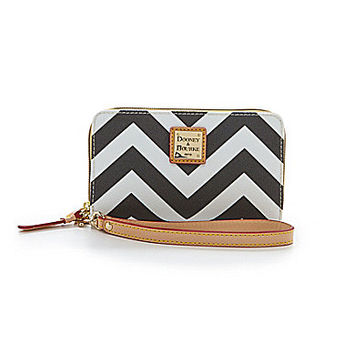 Dooney & Bourke Chevron Print Multifunction Phone Wallet - Black