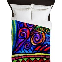 Pop Art Swirls and Stripes Queen Duvet