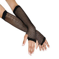 Fingerless Gloves Women Punk Goth Lady Disco Dance Costume Lace Fingerless Mesh Fishnet Glove hot sale luvas feminina