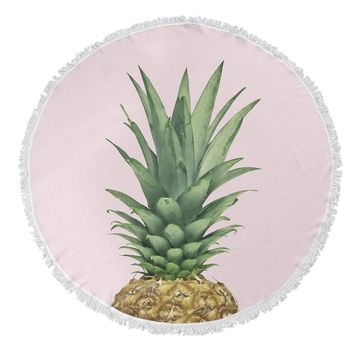 PINEAPPLE TOP Round Beach Towel By Vivid Atelier