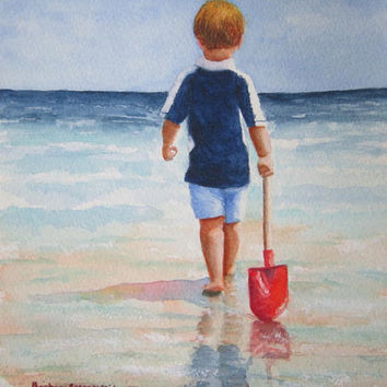 Beach Boy Painting Art Print, Child Red Shovel Seashore Ocean Beach Watercolor, Barbara Rosenzweig, Beach Nursery Home Wall Decor Gift