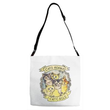 cats against cat calls Adjustable Strap Totes