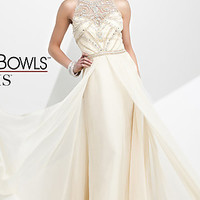 Long Formal Dress with a Sheer Back by Tony Bowls