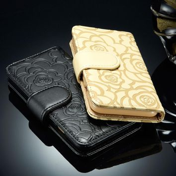 Flower Wallet Case Cover For iPhone 5 5s SE 6 6s Plus 7 8 Plus With Strap