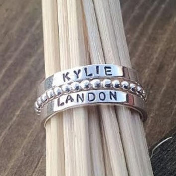 Custom Stacking Name Rings Set of Two with Ball Ring Spacer