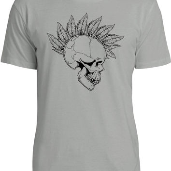 Feather Mohawk Skull (Black) Mens Fine Jersey T-Shirt