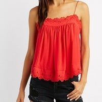 Embroidered-Trim Keyhole Tank Top