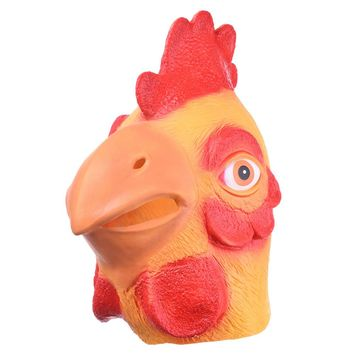 Chicken Head latex Mask Full Face Adult Mask Breathable Halloween Masquerade Fancy Dress Party Cosplay Costume Cute Animal Mask