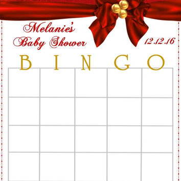 Red Christmas Baby Shower Bingo Cards
