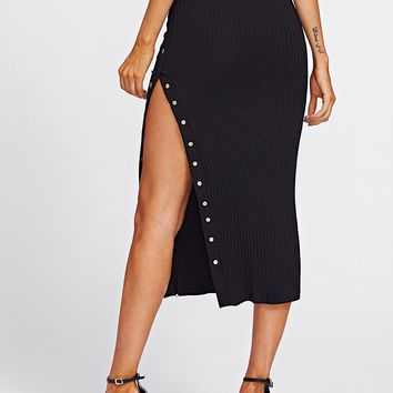 Studded Split Ribbed Skirt
