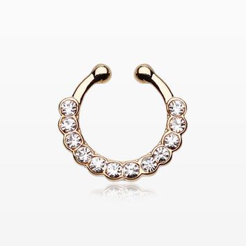 Golden Glistening Multi-Gem Fake Septum Clip-On Ring