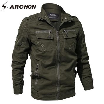 Trendy S.ARCHON Spring Autumn Military Pilot Jackets Men US Air Force Tactical Cotton Bomber Jacket Casual Flight Army Outerwear & Coat AT_94_13