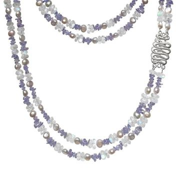 Tanzanite Blue Moonstone Silver Pearl Long Double Strand Necklace