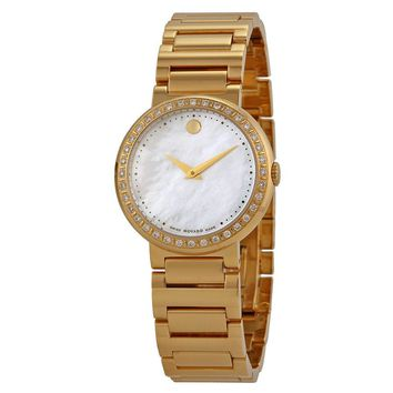 Movado Concerto Mother of Pearl Gold-plated Ladies Watch 0606422