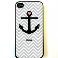 Anchor Hope Grey Chevron iPhone 5 Case - For iPhone 5/5G - Designer TPU Case Verizon AT&T Sprint