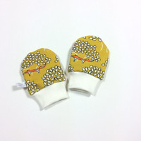 Yellow organic baby scratch mitts with foxes. Infant mittens with cuffs. Shower gift. Yellow knit fabric. Gender neutral no scratch mitts