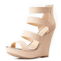 Strappy Gold-Trim Wedge Sandals