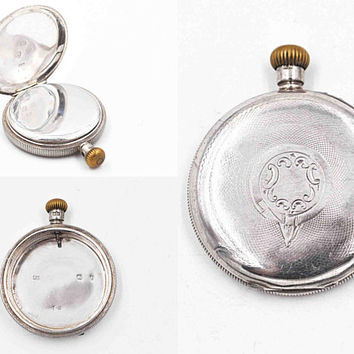 Antique Victorian Sterling Silver Pocket Watch Case, Alfred Bedford, Waltham, Birmingham 1898, Double Back, Open Face Hunter   #c556