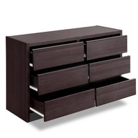 Chest of 6 Drawers Dresser Lowboy Cabinet Brown