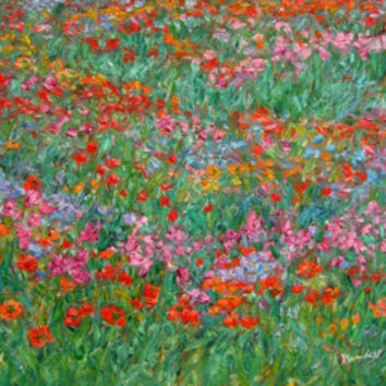 Fun with Peggy's Garden  Art 14x11 Floral Impressionist  oil painting by KENDALL KESSLER