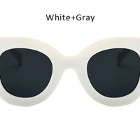 2017 New Cat Eye Vintage Sunglasses Womens White Grey