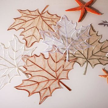 yazi Embroidered Maple Leaves Yarn Daisy Lace Doily Fabric Table Placemat Wedding Banquet Party Home Decor