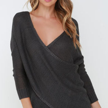 Sweet Schemes Dark Grey Wrap Sweater