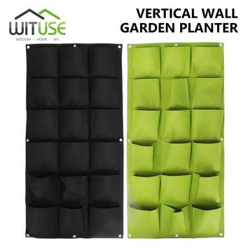 Wall Hanging Planting Bags 4/6/18/36/72 Pockets Green Grow Bag Planter Vertical Garden Vegetable Living Garden Bag Home Supplies
