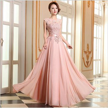 Suosikki 2016 Elegant Avondjurk Grace Long A-line Vestido Chiffon Sleeveless Pink Purple Prom Dress Women Formal Evening Dresses