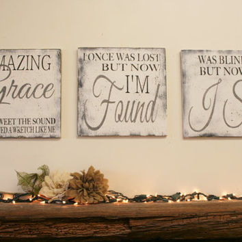 Amazing Grace Sign Christian Wall Art Distressed Wood Rustic Wood Sign  Shabby Chic Religious Sign Country