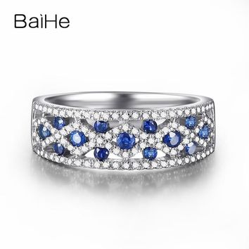 BAIHE Solid 18K White Gold 0.17CT Certified 100% Genuine Natural Sapphires Engagement Women Cute/Romantic Fine Jewelry Gift Ring