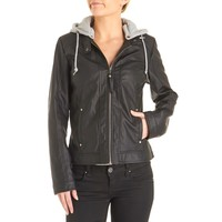 Faux Leather Moto Jacket with Contrast Hood - Juniors 110182552