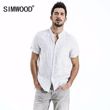 SIMWOOD 2019 Summer Shirts Men 100% Pure Linen Shorts Sleeve Striped Slim Fit Stand