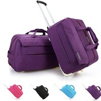 New trolley bag luggage rolling  travel bags metal hand trolley travel bag