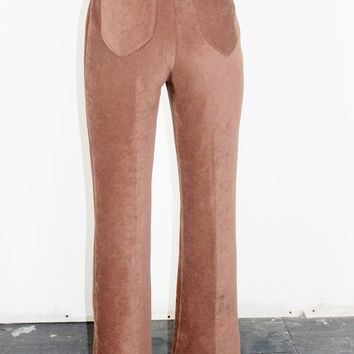 70s Suede Like High Rise Trousers  / M L 29 Inch Waist