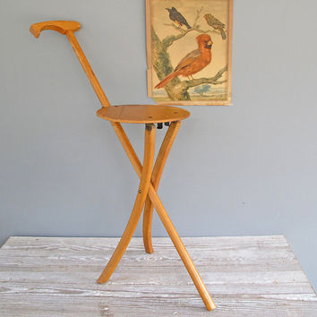 vintage wood walking stick seat occasional by KatyBitsandPieces
