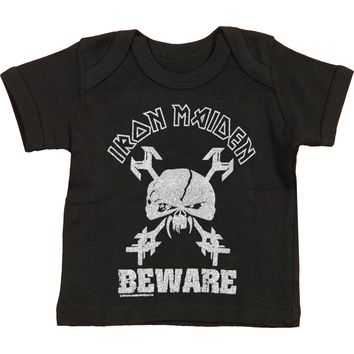 Iron Maiden Boys' Beware Childrens T-shirt Black Rockabilia